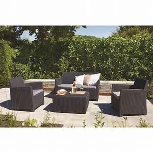 Salon De Jardin Osier : corona salon de jardin 4 places en r sine tress e gris ~ Dallasstarsshop.com Idées de Décoration