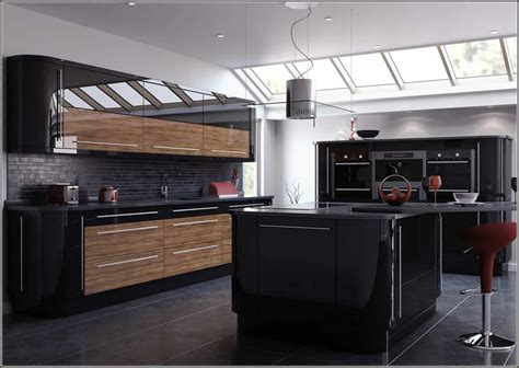 glossy black kitchen cabinets outstanding black and wood kitchens that will add style to 3851