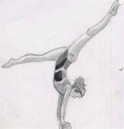Drawings of Gymnasts Doing Gymnastics