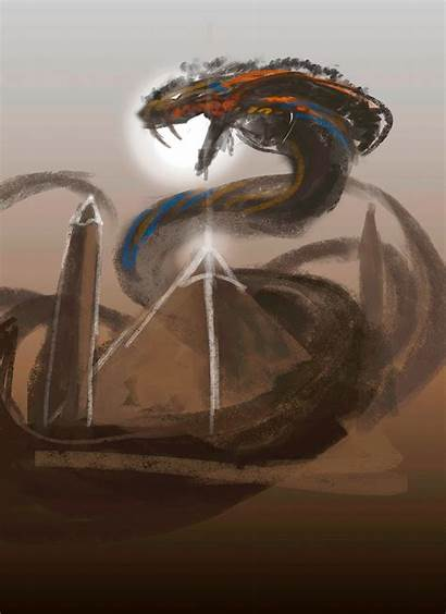 Mythical Creatures Artstation Egyptian Apophis Concept Percy