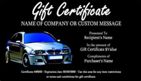 Automotive Gift Certificate Template Free by Auto Repair And Maintenance Gift Certificate Templates