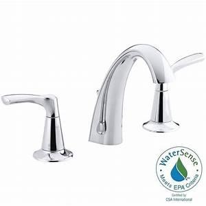 Kohler mistos 8 in widespread 2 handle water saving for Water saving bathroom faucets
