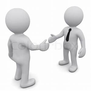 Two 3D business man in ties shake hands on a white ...