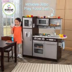 kidkraft uptown espresso wooden play kitchen with 30 pc