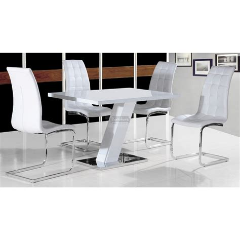 aliyah white gloss dining table  leather chair set