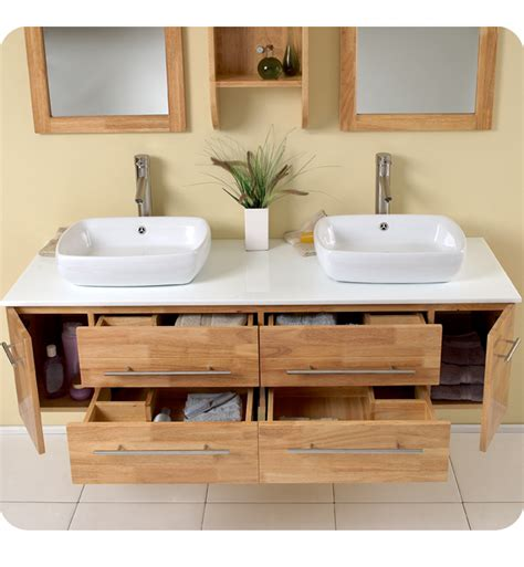 Fresca Bellezza Natural Wood Modern Double Vessel Sink