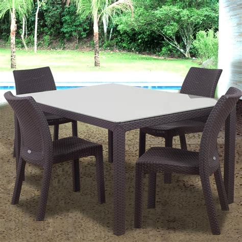 atlantic corfu 4 person resin wicker patio dining set with