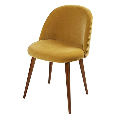 chaise moutarde mustard yellow velvet vintage chair mauricette maisons