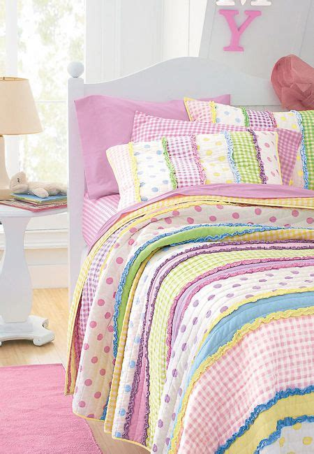 pastel colored bedding dottie quilt striped polka dot gingham