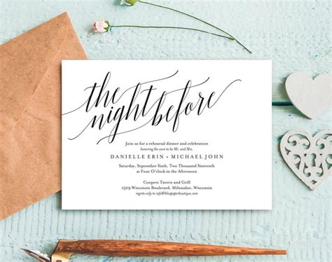 Rehearsal Dinner Invitation Rehearsal Dinner Invitation