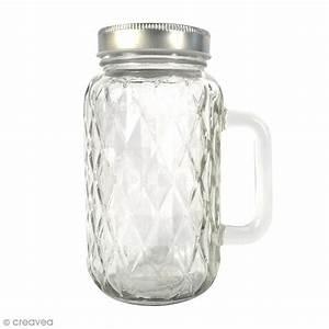 Bocal En Verre Avec Couvercle : bocal mason jar en verre avec poign e et couvercle diamant 490 ml bocal mason jar creavea ~ Teatrodelosmanantiales.com Idées de Décoration