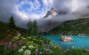 Dolomites, Mountains, Italy, Spring, Mist, Lake, Wildflowers, Clouds, Turquoise, Water, Trees