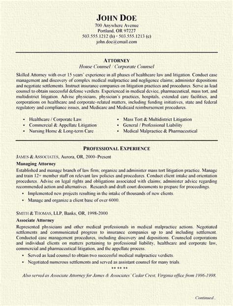 Resume Draft Sle by Insurance Defense Attorney Resume Slebusinessresume