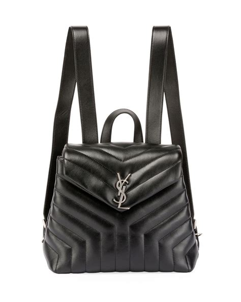 lyst saint laurent monogram ysl loulou small  quilted leather backpack  black