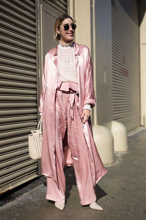 millennial pink street style outfit ideas popsugar