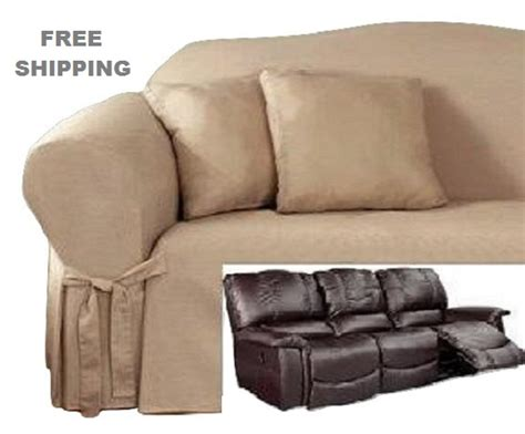 recliner loveseat slipcovers reclining sofa slipcover cotton taupe sure fit dual