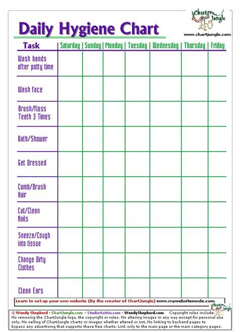 printable hygiene chart  daycare school  home