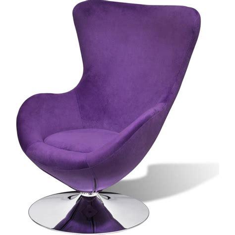 small fabric swivel egg chair w cushion in purple buy