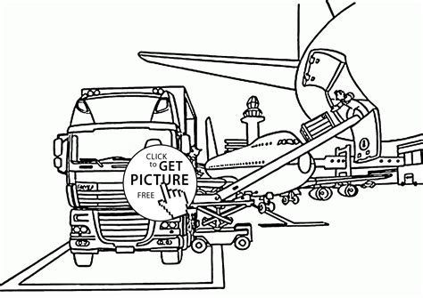 Box Truck In The Airport Coloring Page For Kids