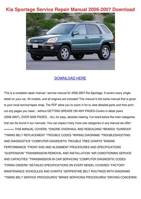 car service manuals pdf 2002 kia sportage lane departure warning kia sportage service repair manual 2006 2007 by katrina scholle issuu