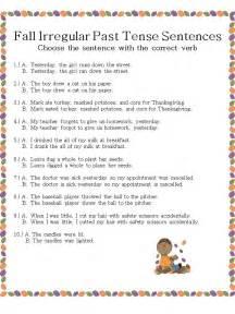 Past Tense Irregular Verbs in Sentences