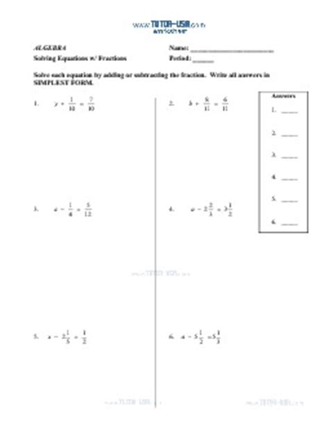 worksheet equations solve equations with fractions and