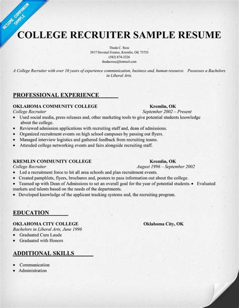 Army Recruiter Resume by Resume Exles For College High School Resume Sle Applicant Resume Exle With Sle