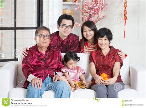 New Celebrate Family Friends Life: Chinese New Year With Family Stock Photo