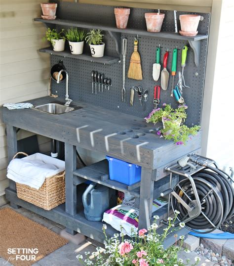 diy potting table with sink make it diy potting bench with sink free pallets hose