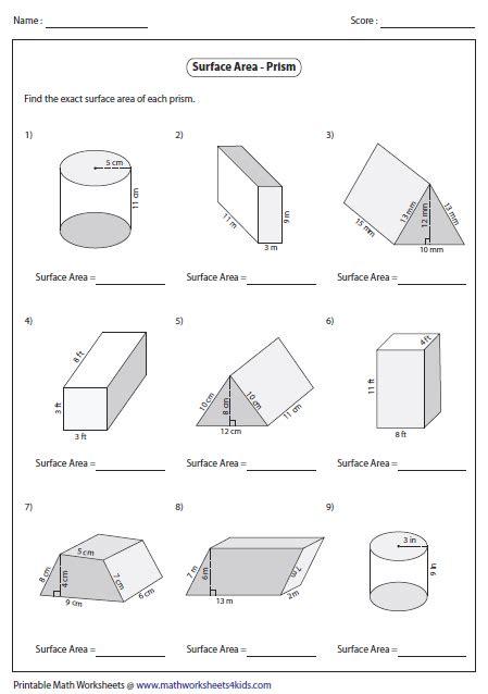 surface area worksheets - Surface Area Worksheets