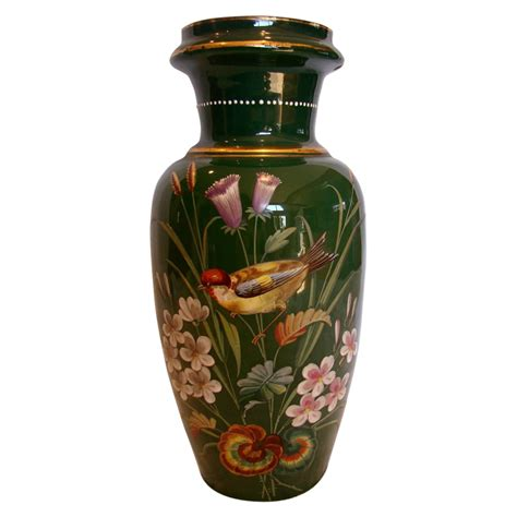 vintage green glass l bohemian czech harrach large green art glass vase 13 w