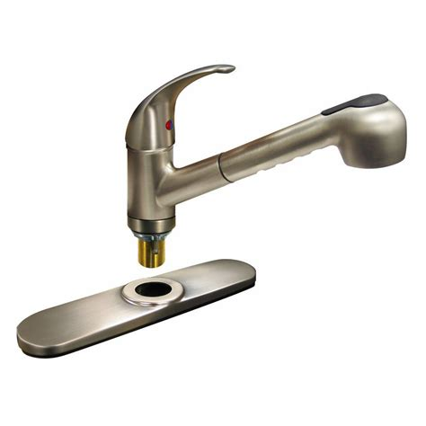 pull kitchen faucet brushed nickel kissler co dominion single handle pull out sprayer kitchen faucet in brushed nickel 77 2120