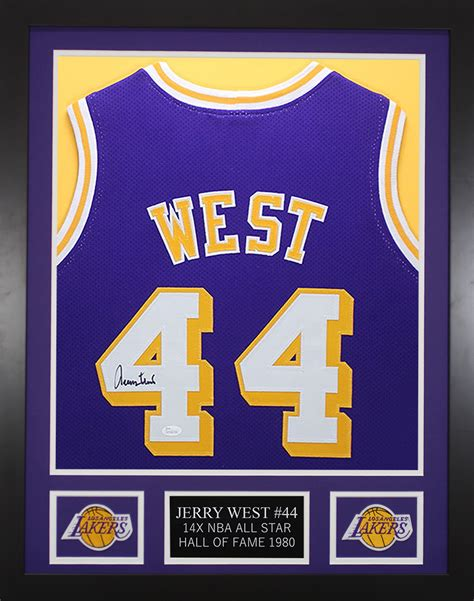 Jerry West Autographed & Framed Los Angeles Lakers Purple ...