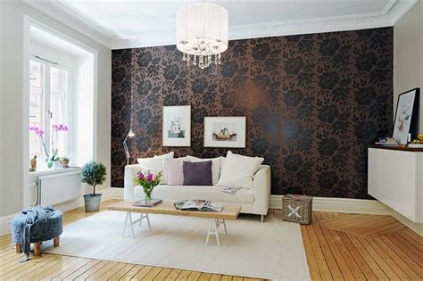 elegant interiors  damask wallpapers