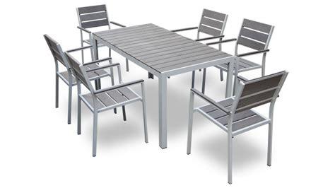 chaises exterieur table et 6 chaises giany en aluminium pour jardin