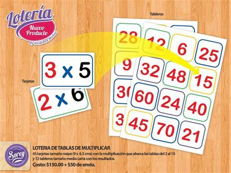 loteria de tablas de multiplicar abc math homeschool y school