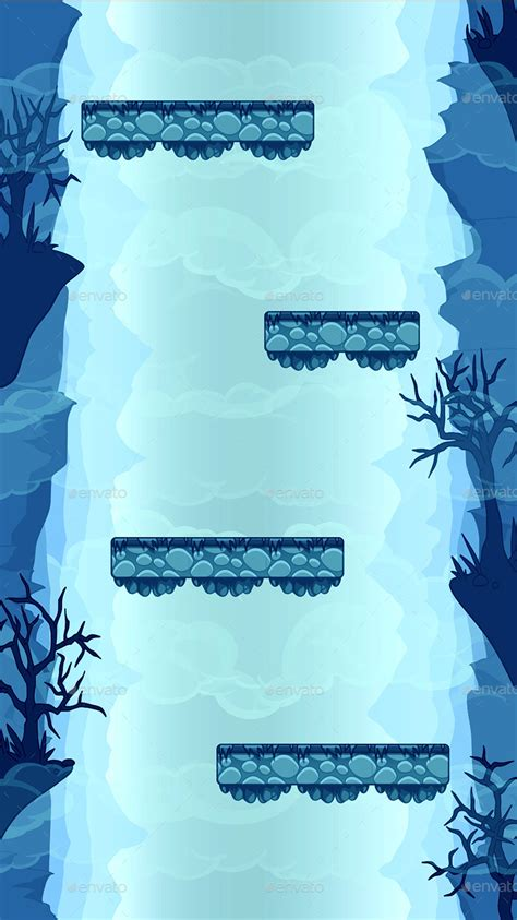 Parallax Vector Game Background With Tileset Vertical