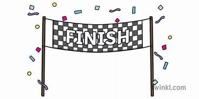 Finish Race Line End Illustration Finished Celebration