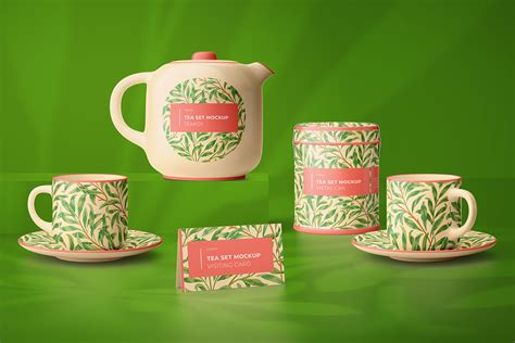tea set mockup  product mockups  yellow images