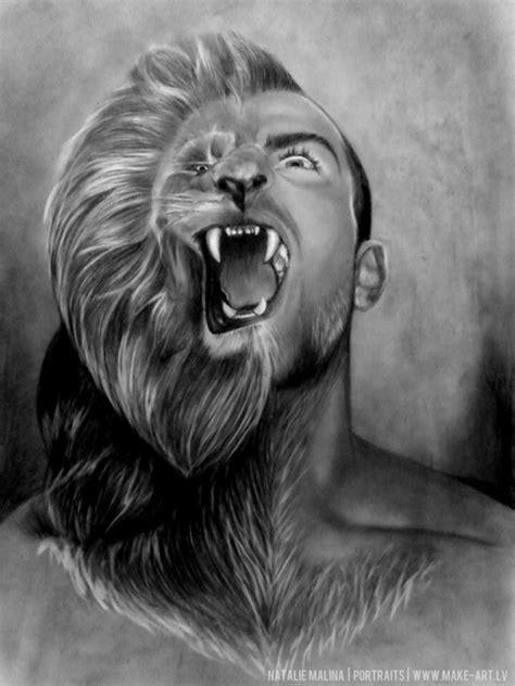 animal human portrait pencil drawings
