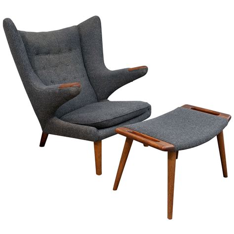 vintage hans wegner papa chair and ottoman at 1stdibs