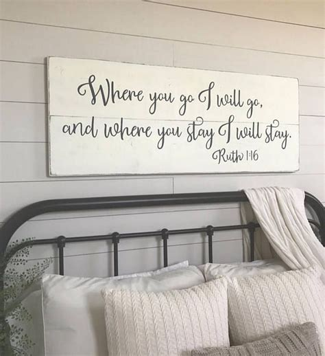 Bedroom Wall Decoration Ideas by Bedroom Wall Decor Where You Go I Will Go Wood Signs