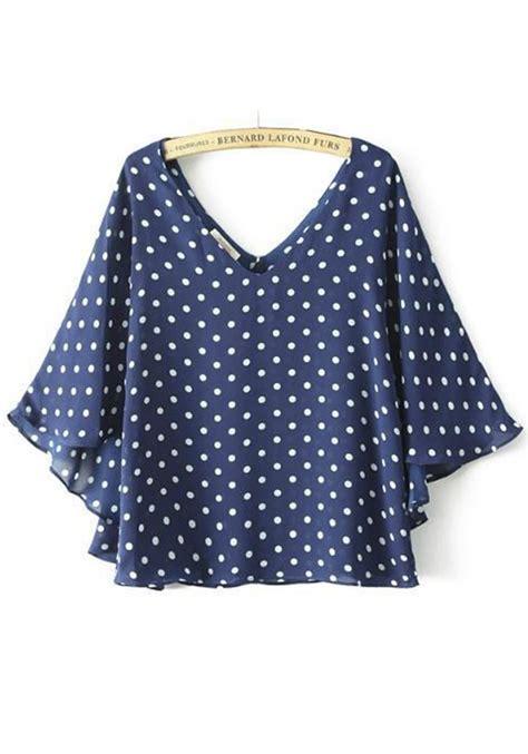 polka dot blouses blue polka dot print chiffon blouse blouses tops