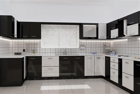 modular kitchen designs black and white modular kitchen in black and white theme home advisor 9774