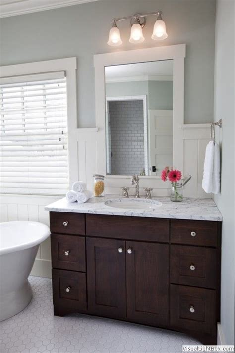 brown vanities and cabinets on