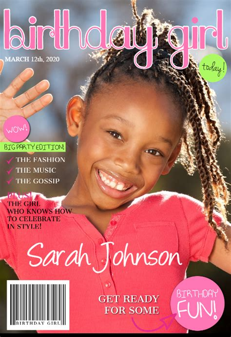 birthday girl magazine cover  birthday card