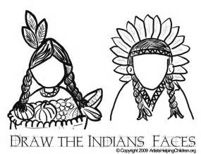 thanksgiving indians coloring pages printouts draw indians faces in drawing activities