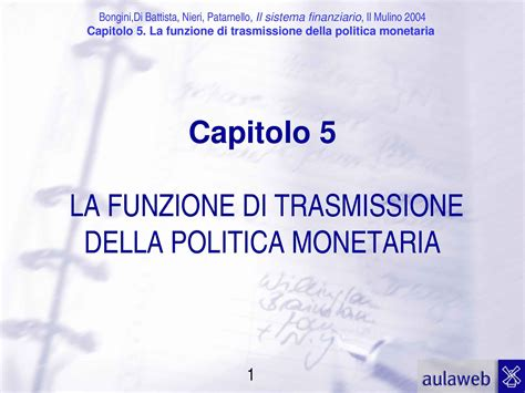 Economia Degli Intermediari Finanziari Dispense by Funzione Di Trasmissione Politica Monetaria Dispense