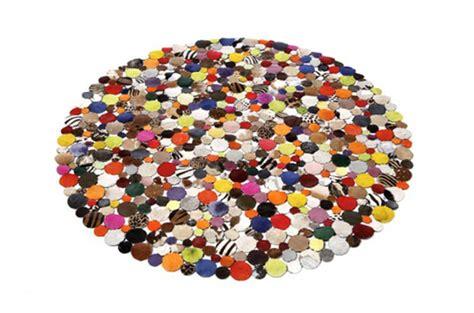 tapis rond design en cuir multicolor  tapis