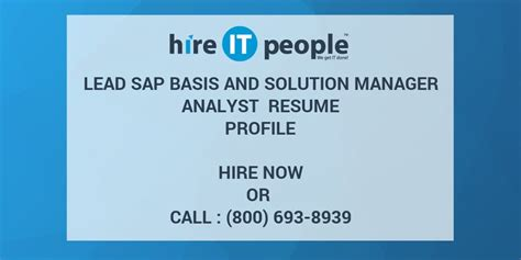 lead sap basis and solution manager analyst resume profile